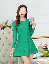 Casual Plus Sizes Women's Loose Hollow Lace Sexy Lace Round Neck Long Sleeve Party Dress