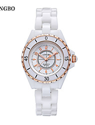 LONGBO Mulheres Relógio Elegante Impermeável Quartzo Cerâmica Banda Luxuoso Branco