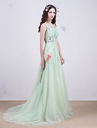 Prom Formal Evening Dress - See Through Ball Gown Scoop Sweep / Brush Train Lace with Sequins