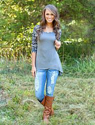 Ronde hals - Katoen - Bloem - Vrouwen - T-shirt - Halflange mouw
