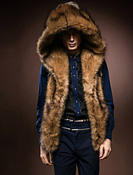 Men's Casual/Daily Fur Coat,Solid Sleeveless Winter Faux Fur Fox Fur