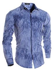 Men's Print Casual Shirt,Rayon Long Sleeve Blue / Yellow