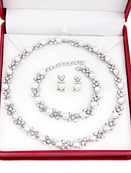Simple and elegant imitation pearl necklace, silver plated Earring Sets (necklace, earrings, bracelets)