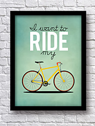 I Want to Ride My Bicly Poster Framed Canvas 33.3*43.3CM Wall Art , Wood