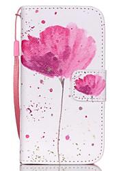 Teste padrão de flores hzbyc®classic caso pu cartão material de cordão para iphone 4 / 4s