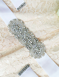 Satin Wedding / Party/ Evening / Dailywear Sash-Sequins / Beading / Pearls / Rhinestone Women's 98 ½in(250cm)Sequins / Beading / Pearls /