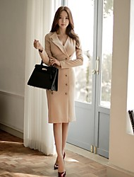 Women's Formal Work Simple Bodycon Dress,Solid Button V Neck Knee-length Long Sleeve Beige Spring Fall Mid Rise