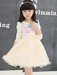 Girl's Pink / Beige Dress,Floral Spandex Spring