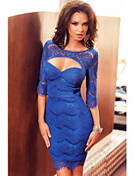 Women's  Faddish Cutout Sleeved Eyelash Lace Mini Dress