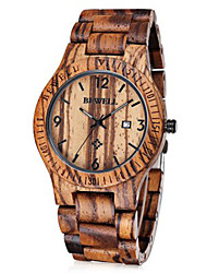 Men's Wrist watch Unique Creative Watch Japanese Quartz Calendar Wood Band Brown Brand