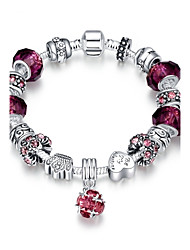 Classic Vintage Women's Rhinestones Stoving Varnish Glass Silver Plated Tin Alloy Charm Bracelet(Pink,Purple)(1Pc) Christmas Gifts