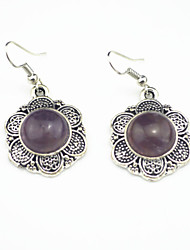 Vintage Look Antique Silver Plated Flower Turquoise Amethyst Tiger Stone Drop Dangle Earring(1Pair)