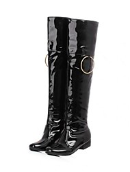 Women's Spring Fall Winter Fashion Boots Patent Leather Dress Casual Low Heel Black Red White