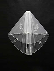 Wedding Veil Two-tier Blusher Veils / Shoulder Veils / Elbow Veils / Fingertip Veils Beaded Edge Tulle Ivory