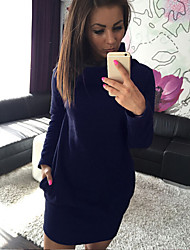 Women's Heaps Collar Long Sleeve Casaul Package Hip Solid Dress
