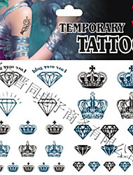 Temporary Tattoos Stickers Non Toxic Glitter Waterproof Multicolored Glitter 1 Package 17*16CM Crown