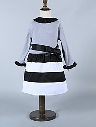 Girl's Gray Dress,Stripes Spandex Winter / Fall