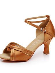 Sapatos de Dança ( Marrom / Prateado / Dourado ) - Feminino - Não Personalizável - Latina / Salsa