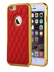 hzbyc® nouvelles lignes de cuir d'agneau de luxe en cuir véritable TPU métallique intégré cas de trame pour Apple iPhone 6Plus / 6s en