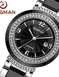 EASMAN® Women Black Ceramic Zircon Gems Brand Quartz Watch Luxury Date Calendar Crystal Fashion Black Ladies  Watches Cool Watches Unique Watches