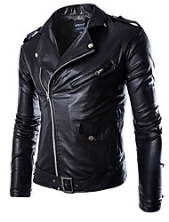 Men PU / Faux Leather Outerwear / Top , Lined