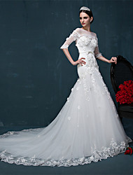 Vestido de Noiva-Sereia Canoa Cauda Corte Tule