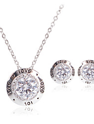 Women Wedding Bridal Silver Zircon Lettering Printing Pendant Necklace Earrings Two Sets Of Clavicle Chain