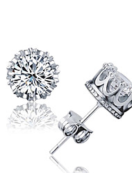 Earring Crystal / AAA Cubic Zirconia Crown Stud Earrings Jewelry Women / Men Wedding / Party / Daily Silver / Sterling Silver / Crystal