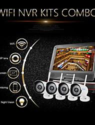 """kits 1.0MP wifi NVR szsinocam®4ch 720p, avec 10,1 """"conduit, pas besoin de mettre, vous pouvez l'image, appuyer p2p."""