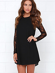 Women's Casual/Daily Loose Dress,Solid Round Neck Above Knee Long Sleeve Black Polyester Spring