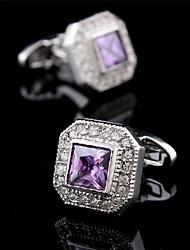 Fashion Copper Men Jewelry Silver  Square Purple CZ Crystal Delicate Button Cufflinks(1Pair)