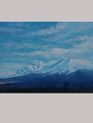 Hand-Painted Blue Sky Snow Mountain Abstract Landscape Pastoral Oil Painting On Canvas One Panel With Frame 100x150cm