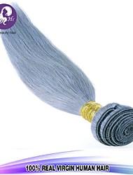 Pelo 1pcs / lot brasileño virginal paquetes armadura del pelo recto del pelo humano plata canas brasileño teje