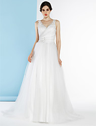 Lanting A-line Wedding Dress - Ivory / Silver Court Train V-neck Tulle