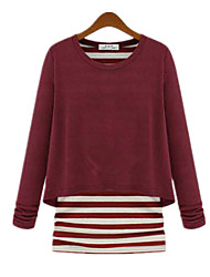 Spring Fashion Women Fake Piece Stripes Round Neck Long Sleeve T-shirt Blouse Tops