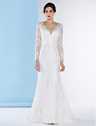 LAN TING BRIDE Trumpet / Mermaid Wedding Dress See-Through Sweep / Brush Train V-neck Lace with Button Lace