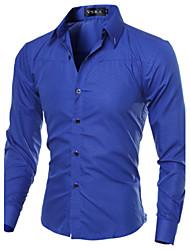 男性用 チェック カジュアル シャツ,長袖 コットン / ポリエステル ブラック / ブルー / レッド / ホワイト