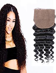 Top 7A Deep Wave Human Virgn Hair Silk Closure, Free Middle 3 Part Deep Wave Silk Closure Silk Closure Bleached Knots