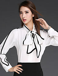 Women's Patchwork White OL Style Loose Thin Elegent Blouse , Work Bow Long Sleeve