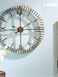 E-HOME®  Round Bronze Metal Wall Clock One Pcs
