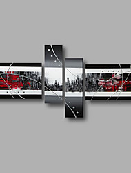 Ready to Hang Stretched Hand-Painted Oil Painting Four Panels Canvas Wall Art Modern Grey Black Red Abstract