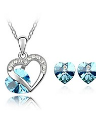 High Quality Crystal Heart Pendant Jewelry Set Necklace Earring (Assorted Color)