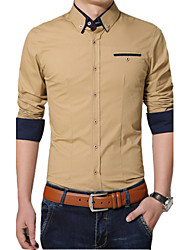 Men's Long Sleeve Shirt , Cotton Casual / Work / Formal Pure,Business casual fashion cotton washed