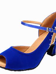 Latin Women's Dance Shoes Sandals Velvet Rhinestone Cuban Heel Black/Blue/Red/Purple