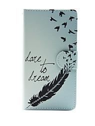 la plume avec rêve cuir PU cas complète du corps avec support pour Sony Xperia m4 Aqua