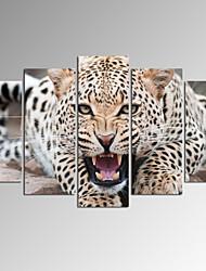 Animal / Fantasia / Fotografia / Patriótico / Moderno / Romântico / Pop Art / Viagem Impressão em tela 5 Painéis Pronto para pendurar ,