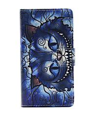 imprimé chat bleu PU portefeuille en cuir de cas complète du corps avec support pour Sony Xperia m4 Aqua