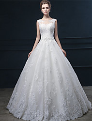 Ball Gown Wedding Dress Floral Lace Sweep / Brush Train Jewel Lace Tulle with Sequin Appliques Beading Lace