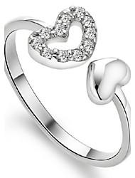AAA Zircon S925 Fine Silver Heart Love Shape Adjustable Ring Fine JewelryImitation Diamond Birthstone