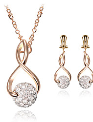 Women Wedding Party Jewelery Bridal 8-shaped Full Drill Ball Pendant Clavicle Chain Rhinestone Necklace Earrings Two - piece